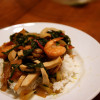 Sort-of Stir-fry: Soy Poached Shrimp with Greens and Tofu